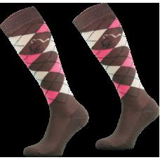 RIDING SOCKS CHECKERED - BROWN